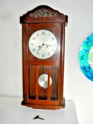"Antique Wooden (Oak) Pendulum Wall Clock (H 28"" W 13"" Depth 7"") with Key"