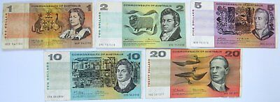 Commonwealth of Australia Note Collection $1 $2 $5 $10 $20 Circulated