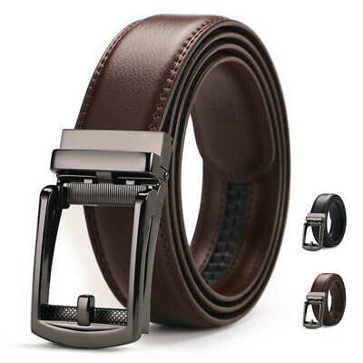 Mens Comfort Click Belt Leather With Steel Automatic Buckle Perfect Fit Waist