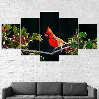 Red Bird Holly Plant Canvas Print Painting Framed Home Decor Wall Art Poster 5P