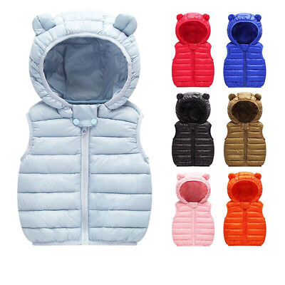 Kids Toddler Baby Boys Girls Cotton Down Vest Jacket Sleeveless Warm Waistcoat