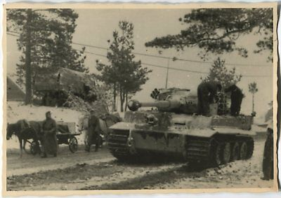 German Wwii Archive Photo: Panzer Vi Tiger Heavy Tank On The Motorway