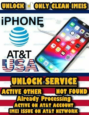 FACTORY UNLOCK SERVICE USA AT&T  IPhone Xs MAX XR 11 PRO IMEI ISSUE ON NETWORK