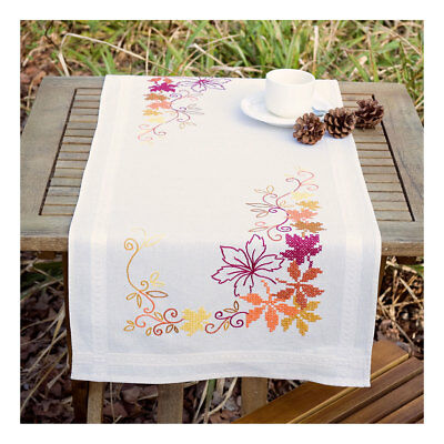Embroidery Kit Runner Leaves Design Stitched on Cotton Fabric | Size 40 x 100cm