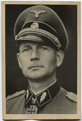 German Wwii Archive Photo: General With Knight's Cross, Name On Reverse