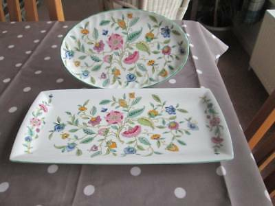 "Minton Haddon Hall Sandwich Tray 11.25"" X 5.5"" & Oval Tray 8.5"" By 5.25"""