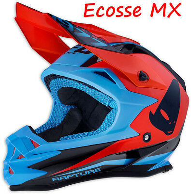 2018 UFO Onyx Motocross MX Enduro Helmet Rapture Blue FLO Red Black L 59-60cm
