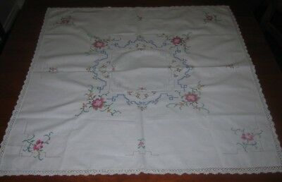 Vintage Hand Embroidered Supper Cloth ~ Crocheted Lace Edge ~ Cotton ~ Square
