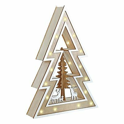Light Up Wooden Tree Christmas Decoration With Warm White LED Lights 32cm Tall
