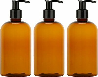 Empty Lotion Bottles 8 Oz. with Black Pump Dispenser, Light-Amber Color, Great -