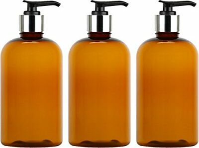 Empty Lotion Bottles 8 Oz. with Black-Silver Pump Dispenser, Light-Amber Color,