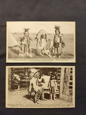 Vintage Black/White Postcards Max Big-Man of the Crow Indian Lot of 2