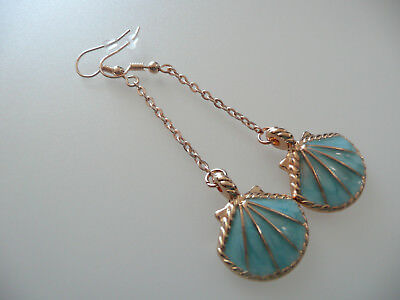 Vintage Art Deco Style Aqua Enamelled Shell Long Earrings Marine Theme Holiday