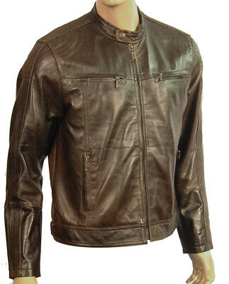 Mens Real Genuine Leather Biker Style Jacket Retro Vintage Distressed Brown