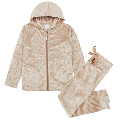 Girls Crushed Velvet Lounge Set With Hood Sweatshirt Hoodie Joggers Tracksuit