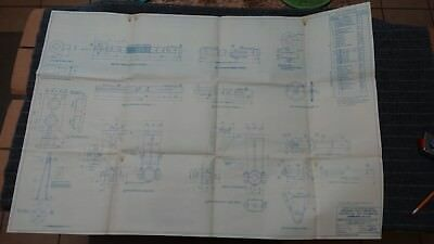 """(H127) Original 1918 Blueprint Drwg 26"""" x 39"""" - Details Wire Lead Operating Gear"""
