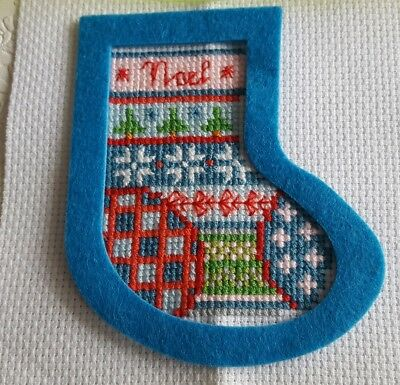 Completed Cross Stitch Christmas Stocking With Felt Frame And Ribbon