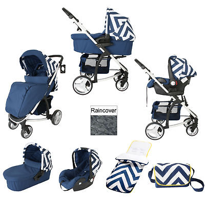 My Babiie Mb200+ Blue Chevron Travel System & Footmuff + Changing Bag