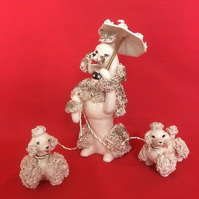 VINTAGE 1950's PORCELAIN SPAGHETTI TRIM PINK POODLE DOG FAMILY LEFTERIS JAPAN