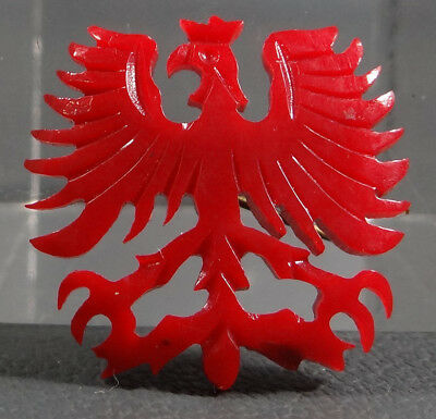 Art Deco Austrian Eagle Coat Of Arms Carved Cherry Red Amber Bakelite Brooch Pin