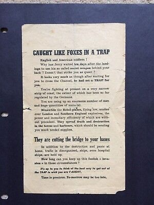 Ww2 Leaflet D-Day Leaflet, Caught Like Foxes In A Trap