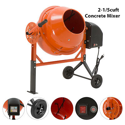 Portable Electric Concrete Cement Mixer Barrow Machine 2-1/5cuft Mixing Mortar