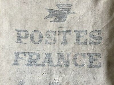 Antique French Authentic Postes France Printed Linen Grain Sack Panel Fabric
