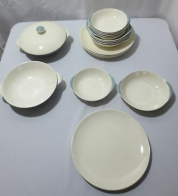 Rare 20 pc China Vtg Royal Doulton 1950's Mid Century Vista Turquoise/White