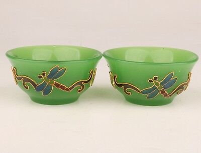 2 Valuable Coloured Glaze Cloisonne Tea Bowl China Daming Chenghua Annual Collec