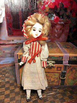 "~ Sweet! Antique 7"" Factory Original Flange Neck Belton German Doll ~"
