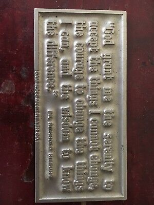 Small Pewter Plaque Serenity Prayer Niebuhr Sam Ross McElreath Co.
