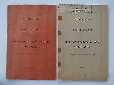 Lot Of 2 New York New Haven & Hartford Railroad General Statement 1903 1904 Map