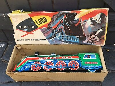 House Clearance Attic Find Old Classic Retro Tin Plate Puff Puff Loco Toy Train