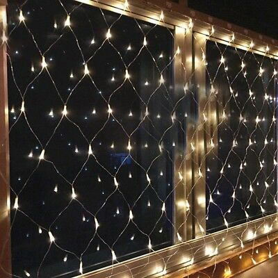 Battery Timer Indoor/Outdoor Net Mesh Curtain Xmas LED Fairy Light Decoration
