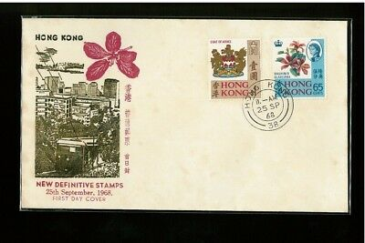 ( Hkpnc ) Hong Kong 1968 Coat Of Arm Set Of 2 Cpa First Day Cover.toning Spot