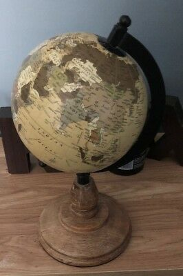 Vintage Style Small Desk Globe With A Wooden Base