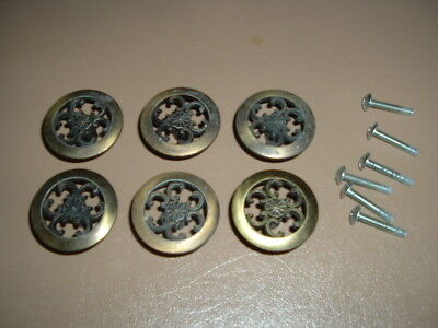 Lot of 6 Vintage Furniture Draw Knobs / Pulls / Allison Japan / Brass / Flower