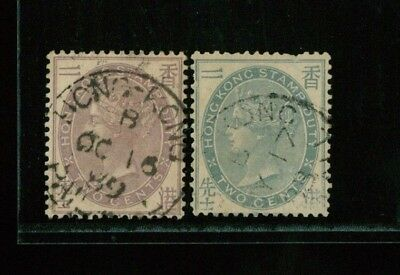 ( HKPNC ) HONG KONG 1880-1890 2c FISCAL CC & CA WMK.BLUISH ONE WITH SHORT PERF
