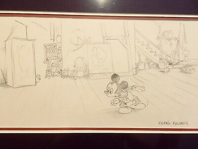 "Vintage Disney Mickey Mouse Frank Follmer Pencil Drawing ""Mickey'S Ghost"" Framed"