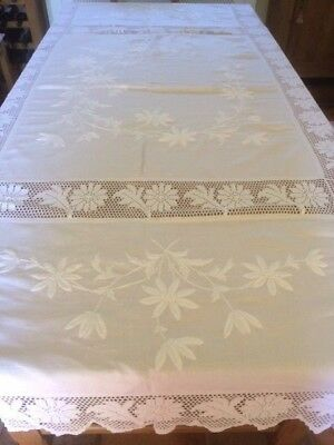 Vintage Linen Large Tablecloth - stunning hand embroidery and crochet