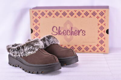 Women's Skechers Shindigs- Fortress Faux Fir Lined Mules Chocolate