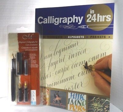 """Barrons 160 Page Book """"calligraphy In 24 Hrs"""" ++ Manuscript Calligraphy Pen Set"""