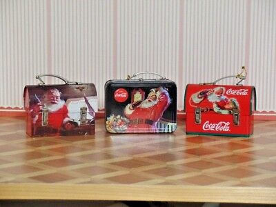 3 Coca Cola Miniature Lunch Box Ornaments (CK 8)