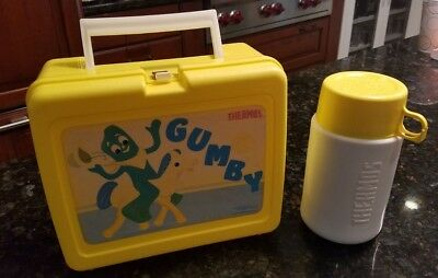 Thermos Brand GUMBY Yellow Plastic Lunchbox - correct Thermos - VERY CLEAN