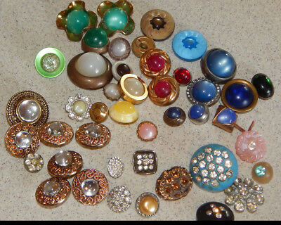 Lot of Antique Vintage Buttons Moonglow Rhinstone Bling Assorted Colors #035-G