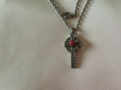 """vintage white metal celtic cross pendant with coral stone 18"""" chain."""