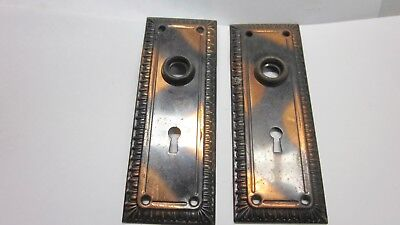 2  Antique / Vintage Japanned Egg Dart Matching Metal Door Knob Backplates