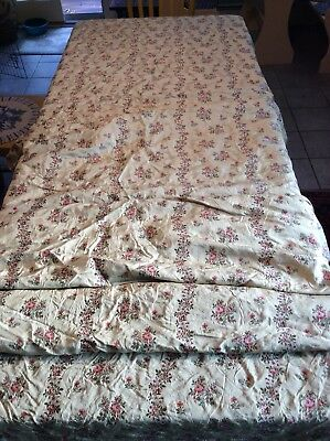 Antique French  Silk Brocade Fabric 8.4 Yards Pink Floral On Creamy Gold  Rare !