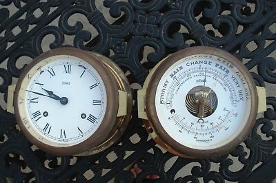 Maritime Stockburger Brass Ships Bell Clock and Barometer Quartz Germany BOAT
