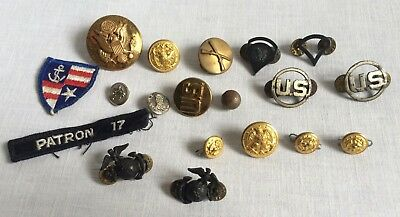 Military Pins Buttons Army Marines Waterbury Co Misc. Junk Drawer Lot